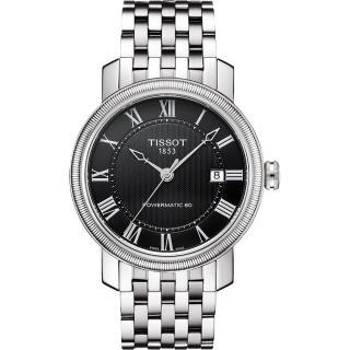 【TISSOT】Powermatic 80 寶環羅馬機械腕錶-黑x銀(T0974071105300)