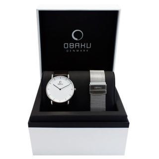 【OBAKU】纖薄哲學二針時尚套錶組-銀框/咖啡帶(V143GCIRN-MESH)