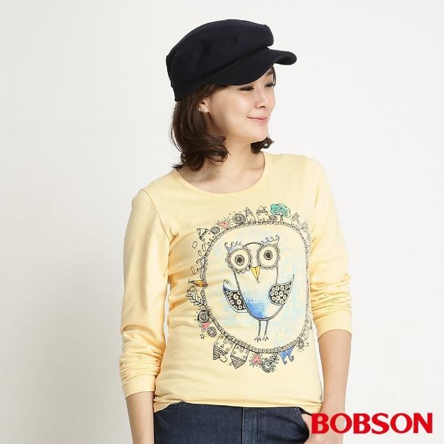 【BOBSON】女款貓頭鷹印圖長袖上衣(黃34099-30)