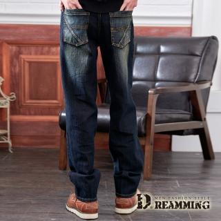 【Dreamming】精工斜線刷色伸縮中直筒牛仔褲(黑色)