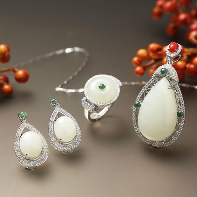 【金玉滿堂】榮華富貴和闐羊脂白玉珠寶套組