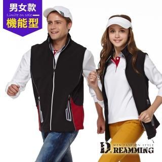 【Dreamming】簡約拼色彈性軟殼防潑水保暖背心(黑紅)