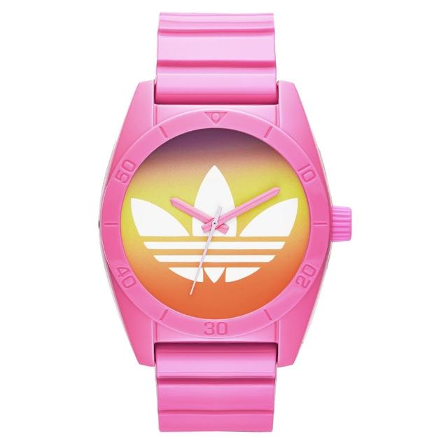 【adidas】街潮繽紛三葉休閒腕錶-漸層x粉紅(ADH9069)