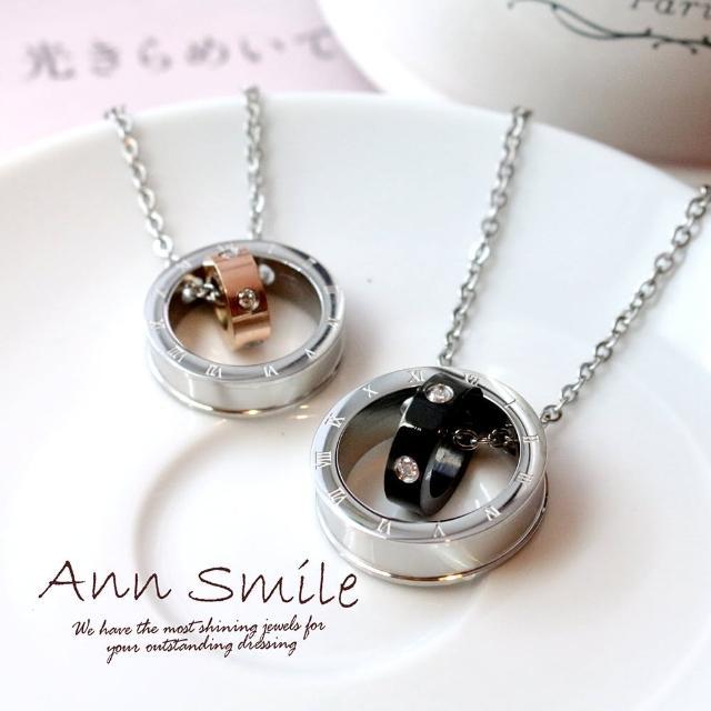【微笑安安】綴鑽滾輪羅馬數字環墜白鋼項鍊(共2款)