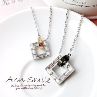 【微笑安安】晶鑽方框套環墜白鋼項鍊(共2款)