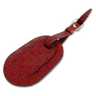 【GUCCI】經典緹花壓紋皮革行李吊牌/吊飾(紅)