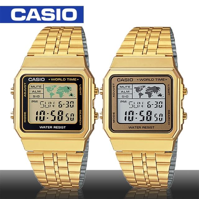 【CASIO 卡西歐】世界地圖探險復古金風格電子錶(A500WGA)