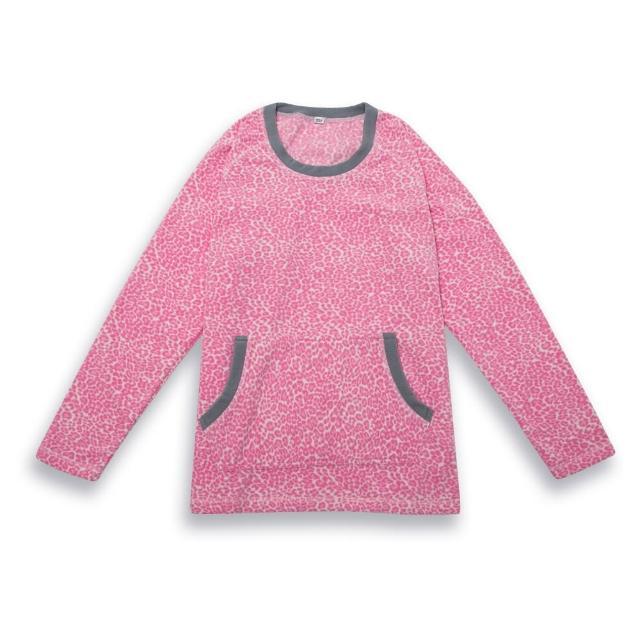 【AIR POWER】超細搖粒絨保暖女圓領T恤(粉色豹紋)