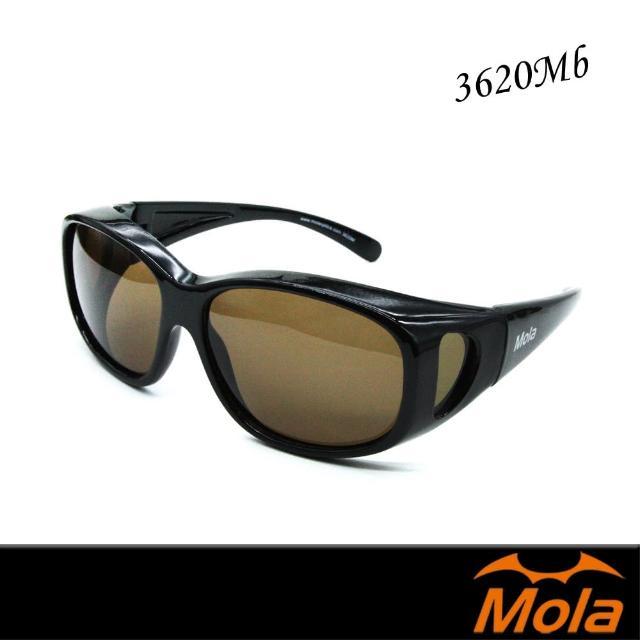 【MOLA 摩拉】近視/老花眼鏡族可戴-偏光太陽眼鏡 套鏡 一般至大臉皆可戴 茶色鏡片(3620Mblb)