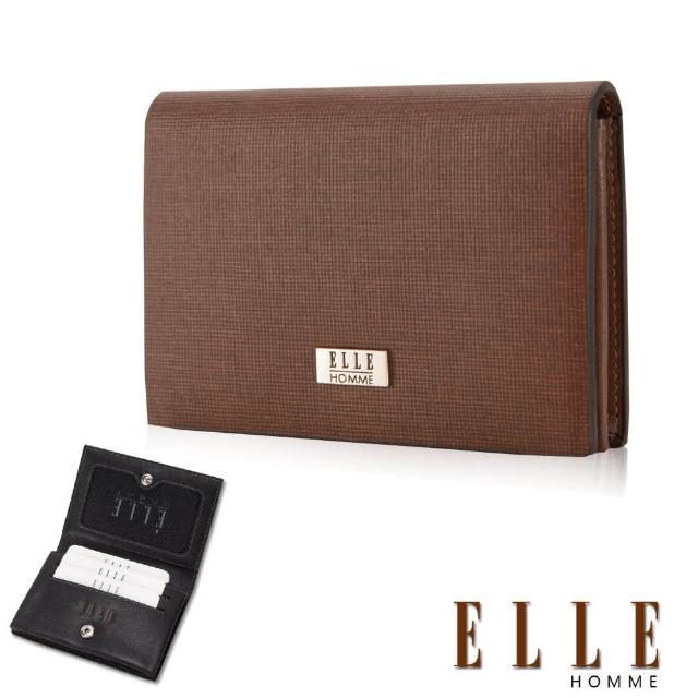 【ELLE HOMME】式精品名片皮夾顆粒紋路耐磨防刮、可扣式置物名片格層設計(咖EL81859-45)
