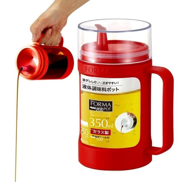 【日本ASVEL】油控式350ml調味油手提玻璃壺(紅色)