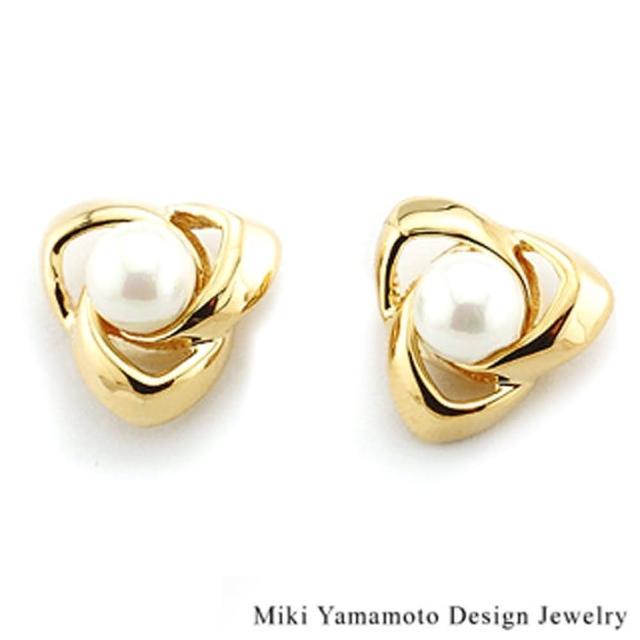 【山本美樹】相纏 貝寶珠針式耳環