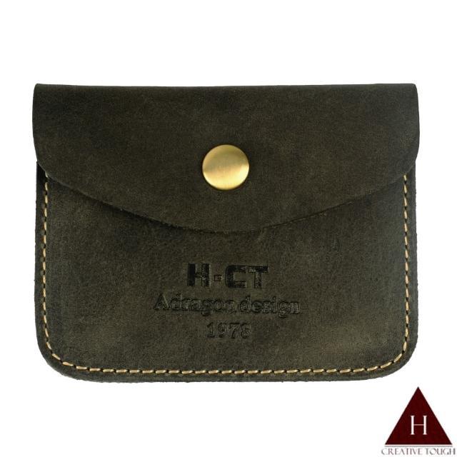 【H-CT】疯马皮铁灰色小口袋真皮零钱包(PUM1463-G-Z)