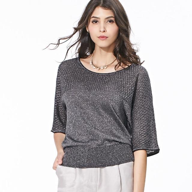 【矜蘭妃】時尚名品金銀絲蠶絲線衫(黑)