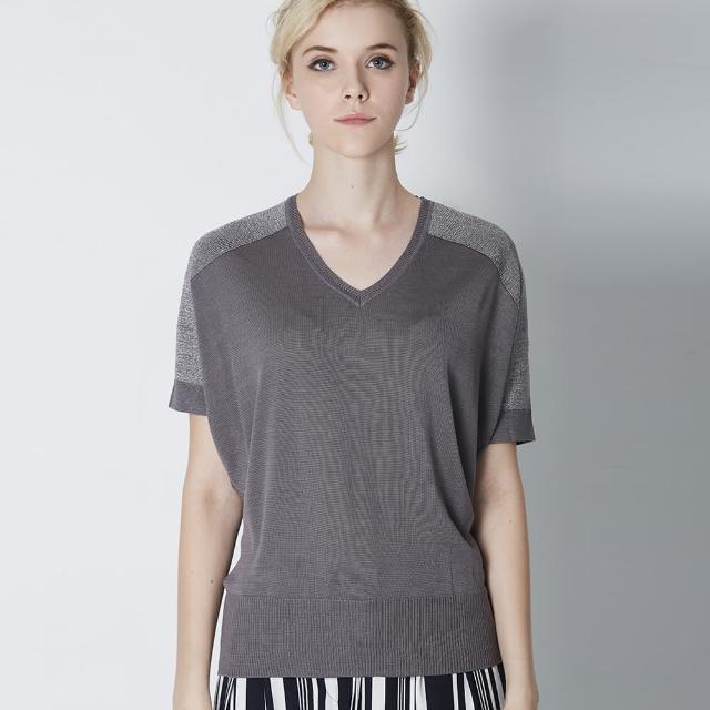 【矜蘭妃】時尚名品金銀絲蠶絲線衫(灰)