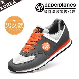 【PAPERPLANES】正韓製/正常版型。男女款輕量透氣撞色慢跑休閒鞋(7-1336灰橘/現貨)