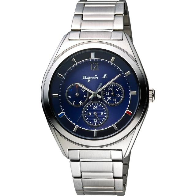 【agnes b.】Solar 驚豔巴黎太陽能日曆腕錶-藍(BT5010P1)