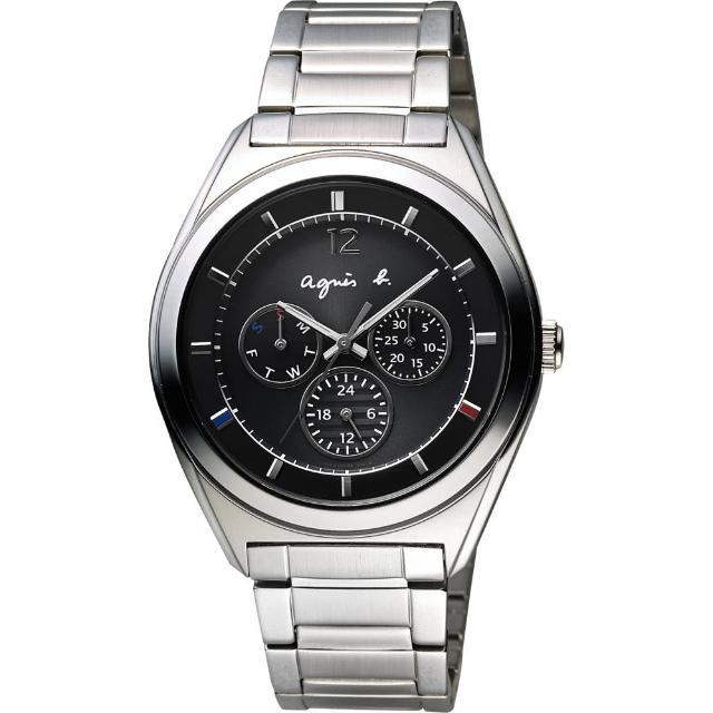 【agnes b.】Solar 驚豔巴黎太陽能日曆腕錶-黑(BT5009P1)