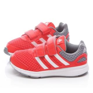 【Adidas】中大童 魔鬼氈輕量運動鞋(B44016-紅灰)