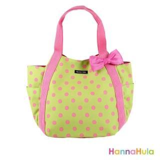 【日本Hanna Hula】圓弧托特包/媽媽包(粉點綠)