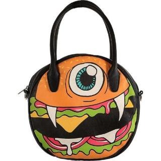 【摩達客】美國Iron Fist鐵拳搖滾圓餅造型漢堡包斜背包(單肩包側背包)