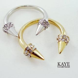 【Kaye歐美流行飾品】鉚釘鑲嵌水鑽造型戒指