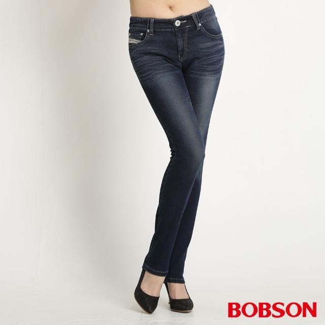 【BOBSON】女款低腰針織牛仔小直筒褲(藍8123-53)