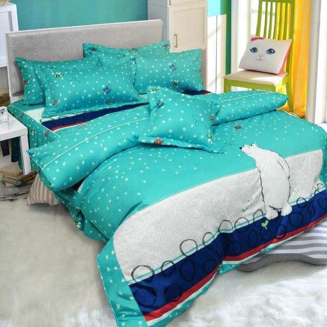【ReVe 蕾芙】《冰原北極熊》雙人精梳棉床包兩用被四件組(藍)