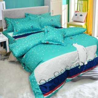 【ReVe 蕾芙】《冰原北極熊》加大雙人精梳棉床包兩用被四件組(藍)