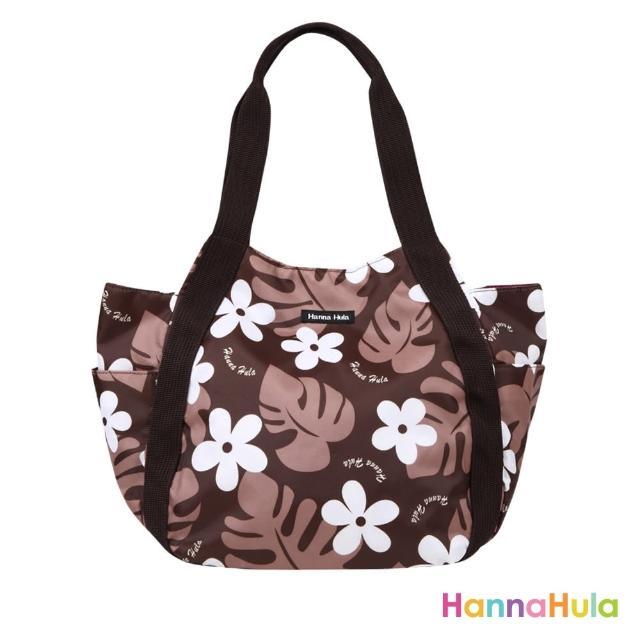 【日本Hanna Hula】圓弧托特包/媽媽包(花葉咖)