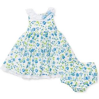【Little Me】荷葉袖洋裝+包屁褲 套裝2件組 - 藍綠碎花 款(#LPU03334)