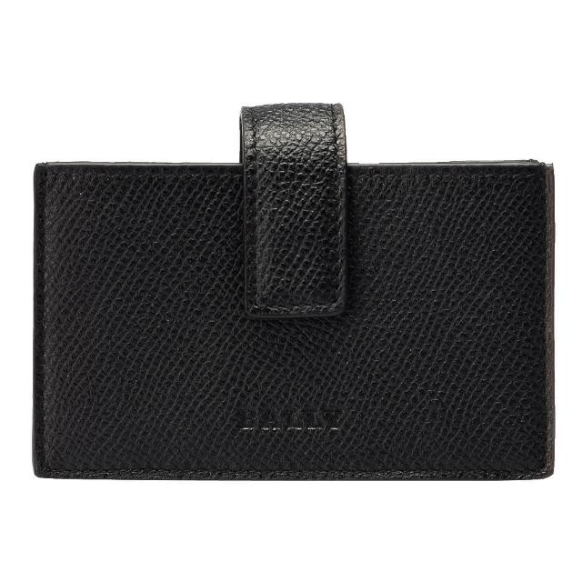 【BALLY】BOHLY經典LOGO防刮牛皮壓紋釦式票卡/證件名片夾(黑色6175072001-BLACK)
