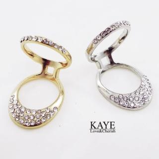 【Kaye歐美流行飾品】立體拉環造型鑲嵌水鑽戒指