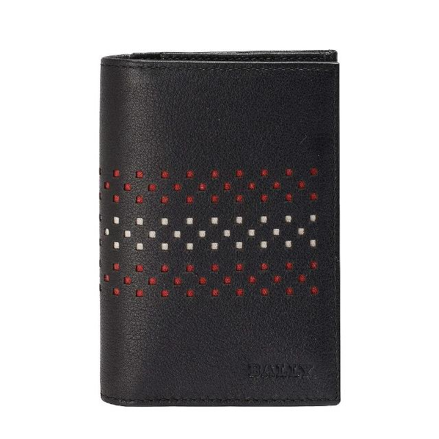 【BALLY】VIANSON經典簍空紅白條紋小牛皮萬用卡夾/短夾 黑(6184554001-BLK)