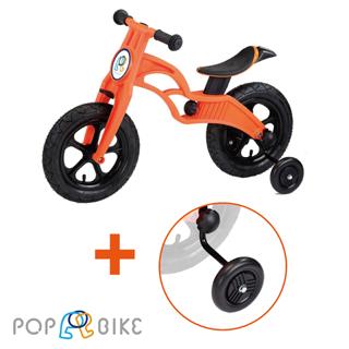 【BabyTiger 虎兒寶】POPBIKE 兒童充氣輪胎滑步車-AIR充氣胎+輔助輪(買就送車籃+車鈴+置車架)