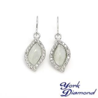【約克鑽石】珍藏水形翡翠晶鑽(純銀包銠金耳環)