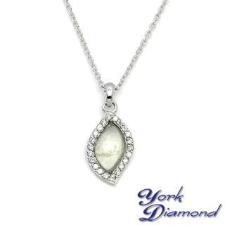 【約克鑽石】珍藏水形翡翠素晶鑽(純銀包銠金項鍊)
