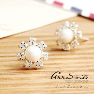 【微笑安安】珍珠晶鑽花朵925純銀針式耳環