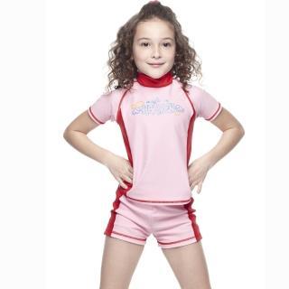 【SAIN SOU】女童兩截式水母衣泳裝(附泳帽A80402)