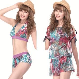 【SAIN SOU】大女比基尼三件式泳裝(附泳帽A93416)