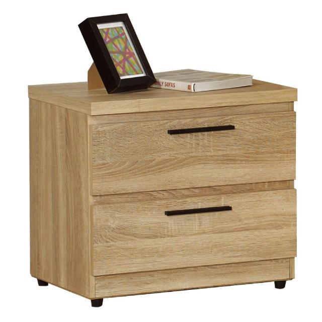 【AT HOME】凱文橡木紋二抽床頭櫃/收納櫃