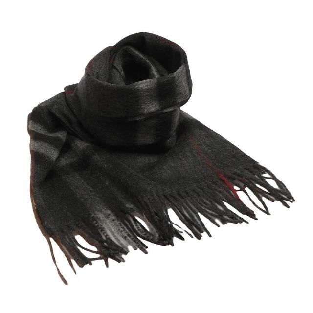 【BURBERRY】經典大格紋喀什米爾羊毛圍巾 木炭灰(3913731-CHARCOAL-CHE)
