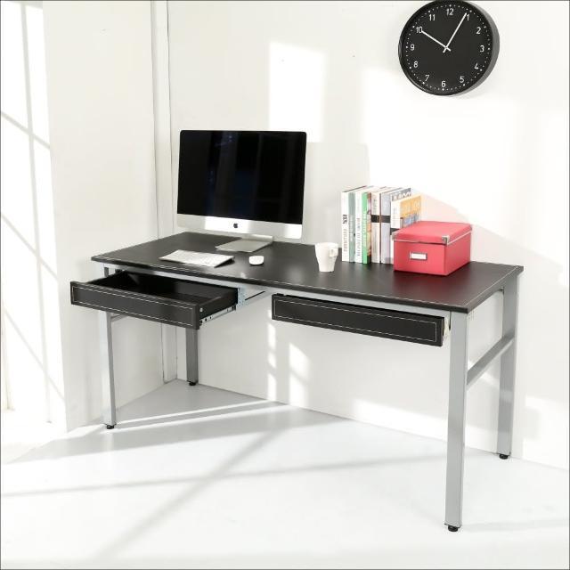 【BuyJM】環保低甲醛仿馬鞍皮160公分穩重型雙抽屜工作桌/電腦桌/附電線孔(黑色)
