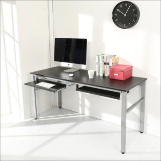 【BuyJM】環保低甲醛仿馬鞍皮160公分穩重型雙鍵盤電腦桌(黑色)