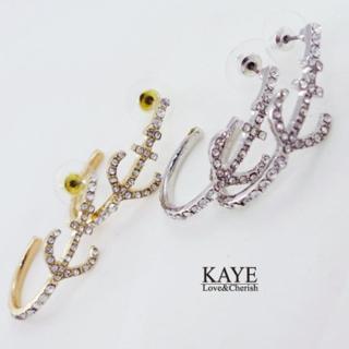 【Kaye歐美流行飾品】海錨鑲嵌水鑽半圓造型耳飾