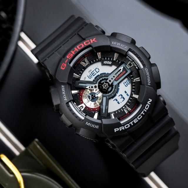 【CASIO 卡西歐】G-SHOCK 炫彩街頭潮流潮汐休閒腕錶-紅/52.4mm(GA-110-1ADR)
