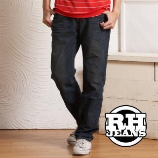 【RH】復古風後鬆緊中性褲頭牛仔褲(直筒帥氣活力藍)