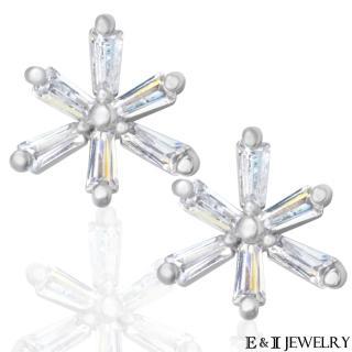 【E&I】-白糖雪-正韓微鑲美鑽雪花鋼針耳環