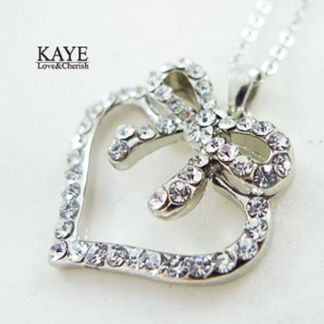 【Kaye歐美流行飾品】水鑽愛心蝴蝶結項鍊
