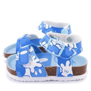 【童鞋城堡】Disney迪士尼 中童 米奇經典款軟木風格涼鞋(453805-藍)